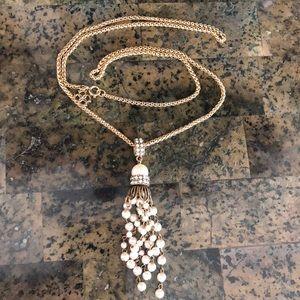 Ann Taylor Necklace w/ pearl & rhinestone pendant